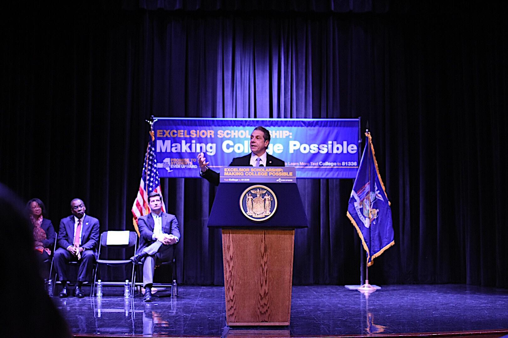 Gov. Andrew Cuomo spoke at SUNY Buffalo State on Tuesday, Feb. 7 about the Excelsior Scholarship initiative.