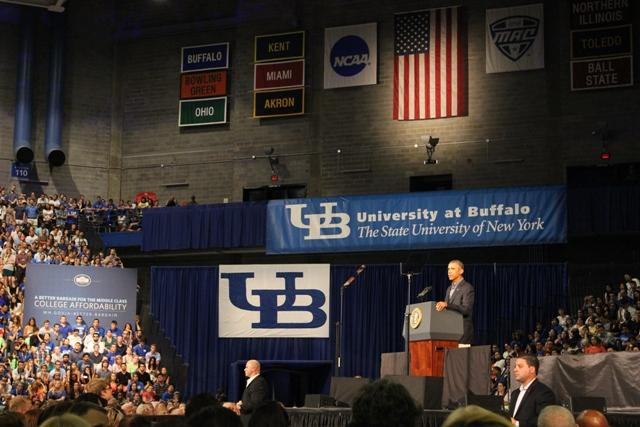 President+Barack+Obama+kicked+off+his+tour+of+upstate+New+York+and+western+Pennsylvania+Thursday+with+a+30-minute+speech+at+the+University+at+Buffalo%27s+Alumni+Arena.