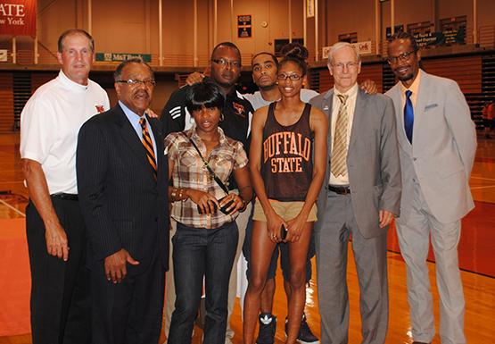 Sasha Henry (third from left) won two national championships and set four school records while at Buffalo State.