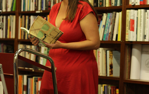 Kristina Darling reading poetry at Talking Leaves bookstore.