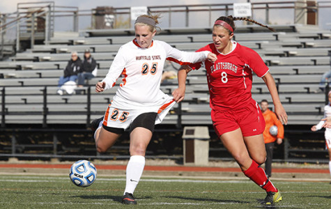 Micky Tinnerman turns for a shot in Buffalo State's 2-1 overtime victory over Plattsburgh Saturday.