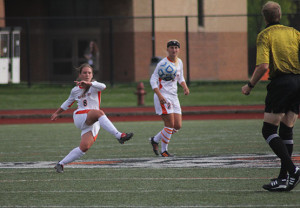 Women's soccer scored two goals for the first time all season, improved to 2-1 in SUNYAC play