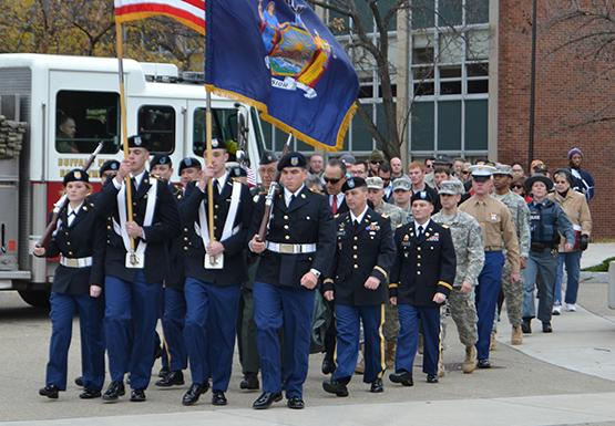 Student veterans march in silence with military members