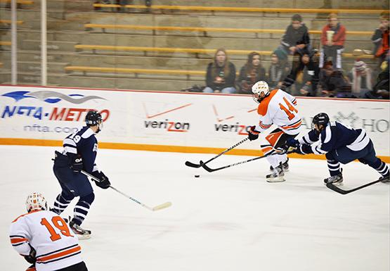 Sophomore Brett Hope registered an assist against Morrissville State this weekend at the Ice Arena.