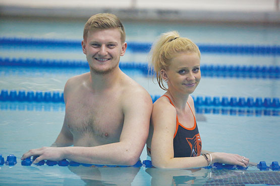 British exchange student swimmers Tom Mermagen and Charlotte Archdeacon