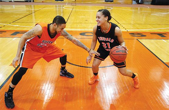 Senior forwards Justin Mitchell (left) and Staci McElroy (right) became the faces of the mens and womens basketball programs during their four-year playing careers at Buffalo State.