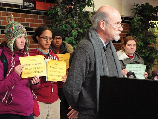 WNY Area Labor Federation President Richard Lipsitz speaks in front of the Campbell Student Union bookstore.