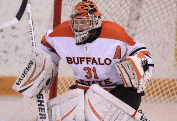 Senior goaltender Kevin Carr signed a professional contract with the Peoria Rivermen (SPHL) days after playing his final game with Buffalo State.