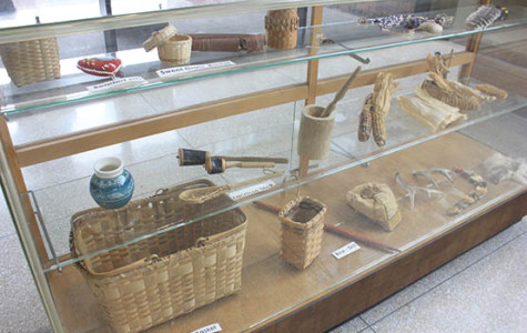 A display of Native American artifacts in the E.H. Butler Library. Native American Awareness Week brought attention to common issues faced by the Native population.