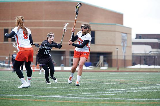 Nikki Paulhaurdt scored twice in a 20-10 loss to Oneonta on Saturday. The loss snapped a six-game winning streak that started with a 17-3 win against Houghton on March 19.