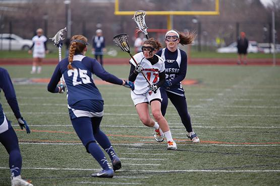 Meghan Farrell scored a goal and added an assist in the Bengals' 21-10 loss at home against Geneseo on Tuesday.