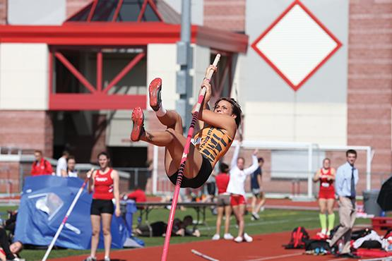 Heather Becker broke her own school record in the pole vault over the weekend.