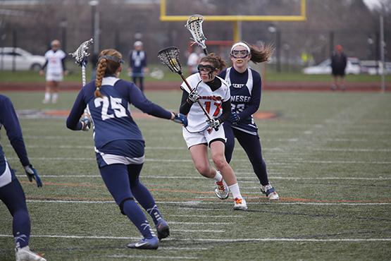 Junior attacker Meghan Farrell had two goals and an assist in Buffalo State's 15-7 victory over Potsdam at Coyer Field on Saturday