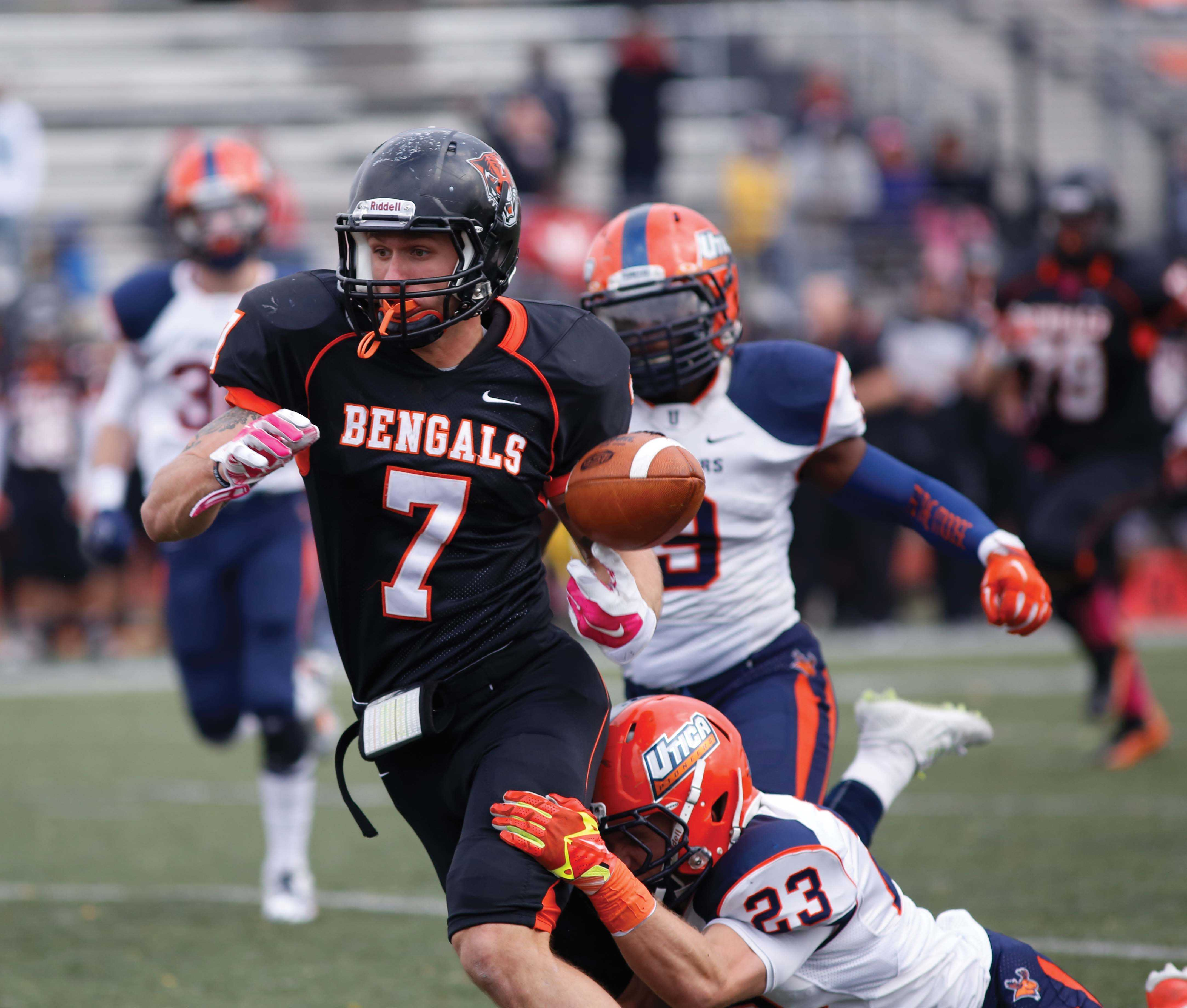 Buffalo State lost three fumbles against Utica, including Mike Doherty's (7) third-quarter fumble after a 36-yard reception. Dohery fumbled the ball on the Utica 9-yard line.