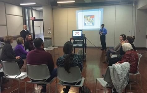 Abdullah Rashed speaks to international students during International Social Hour.
