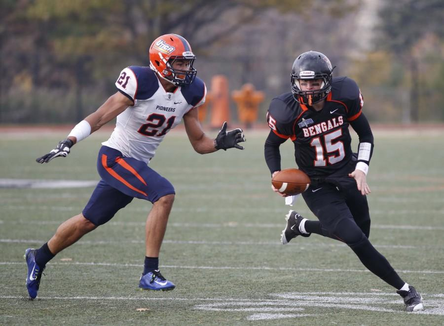Dave DeLuca/The Record Junior quarterback Dan Serignese went 10 of 28 for 246 yards and a touchdown in his first career start in a loss to No. 15 St. John Fisher.