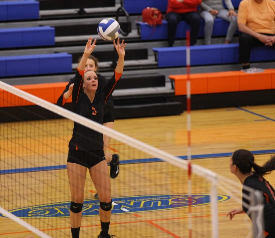 """DePeters said. """"Of course it is disappointing to not have won it all, but you can't win every single year and the way they responded to the adversity they were pre- sented with was admirable."""" The first day of the tournament, the Bengals saw Courtesy of Buffalo State Sports Information Junior Jenniffer Cecchettini had 13 assists against Fredonia."""
