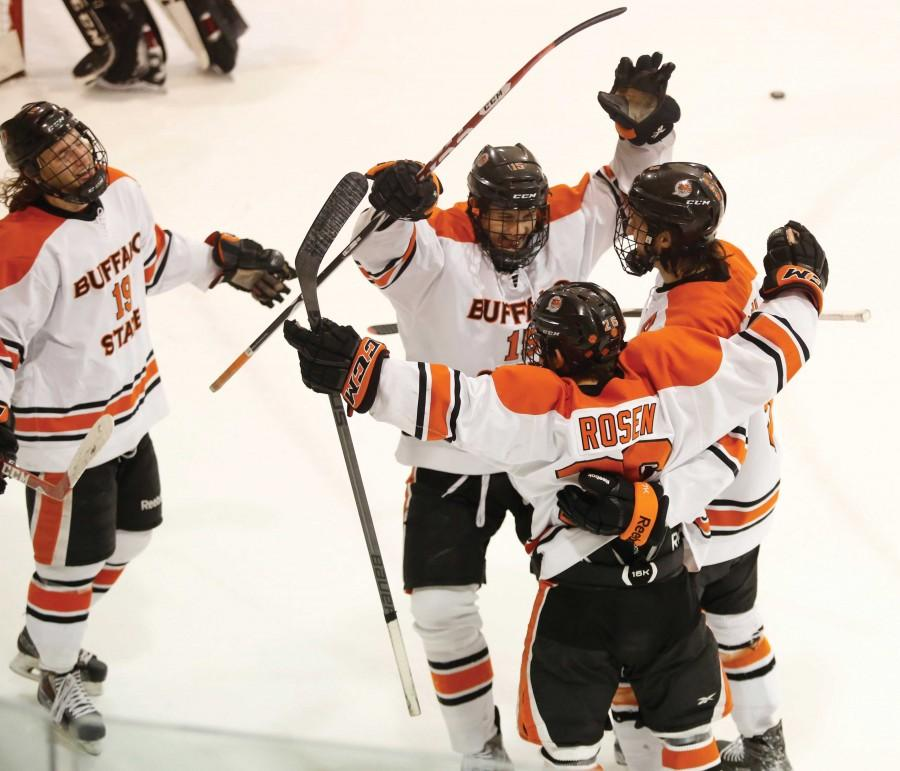 The+Bengals+celebrated+five+goals+against+Potsdam+for+the+their+eighth+win+of+the+season+and+fourth+in+SUNYAC+play.
