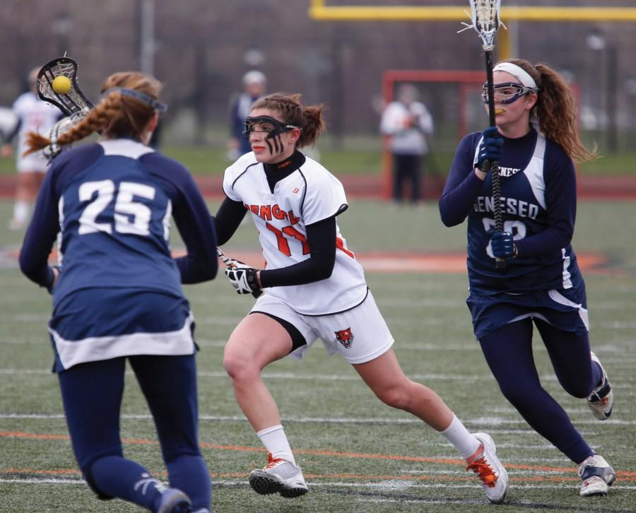 Womans lacrosse moving foreword after losing weekend