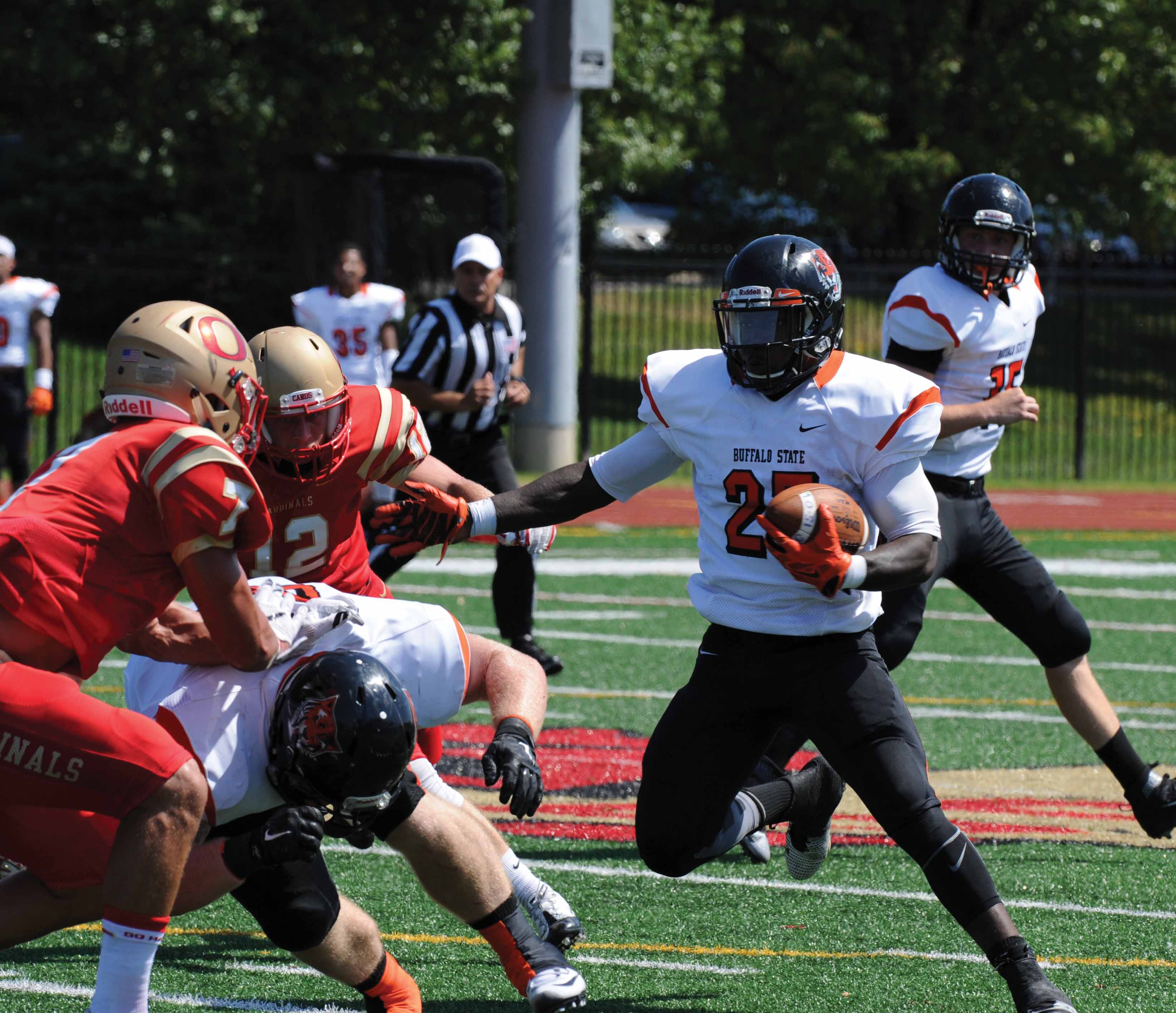 Sophomore running back Dale Stewart made his Buffalo State debut on Saturday, rushing eight times for 77 yards and a touchdown.