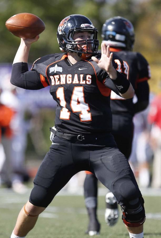 Junior quarterback Aaron Ertel threw for 277 yards and two touchdowns in Saturday's 29-21 win over No. 19 Cortland.