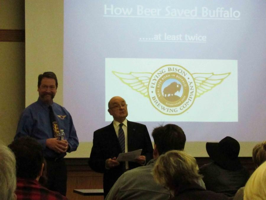 Flying+Bison+Brewery+Owner+Tim+Herzog+%28pictured+left%29+presented+his+lecture+about+the+history+of+Buffalo+brewing+on+Tuesday%2C+Jan.+26+in+the+E.H.+Butler+Library.