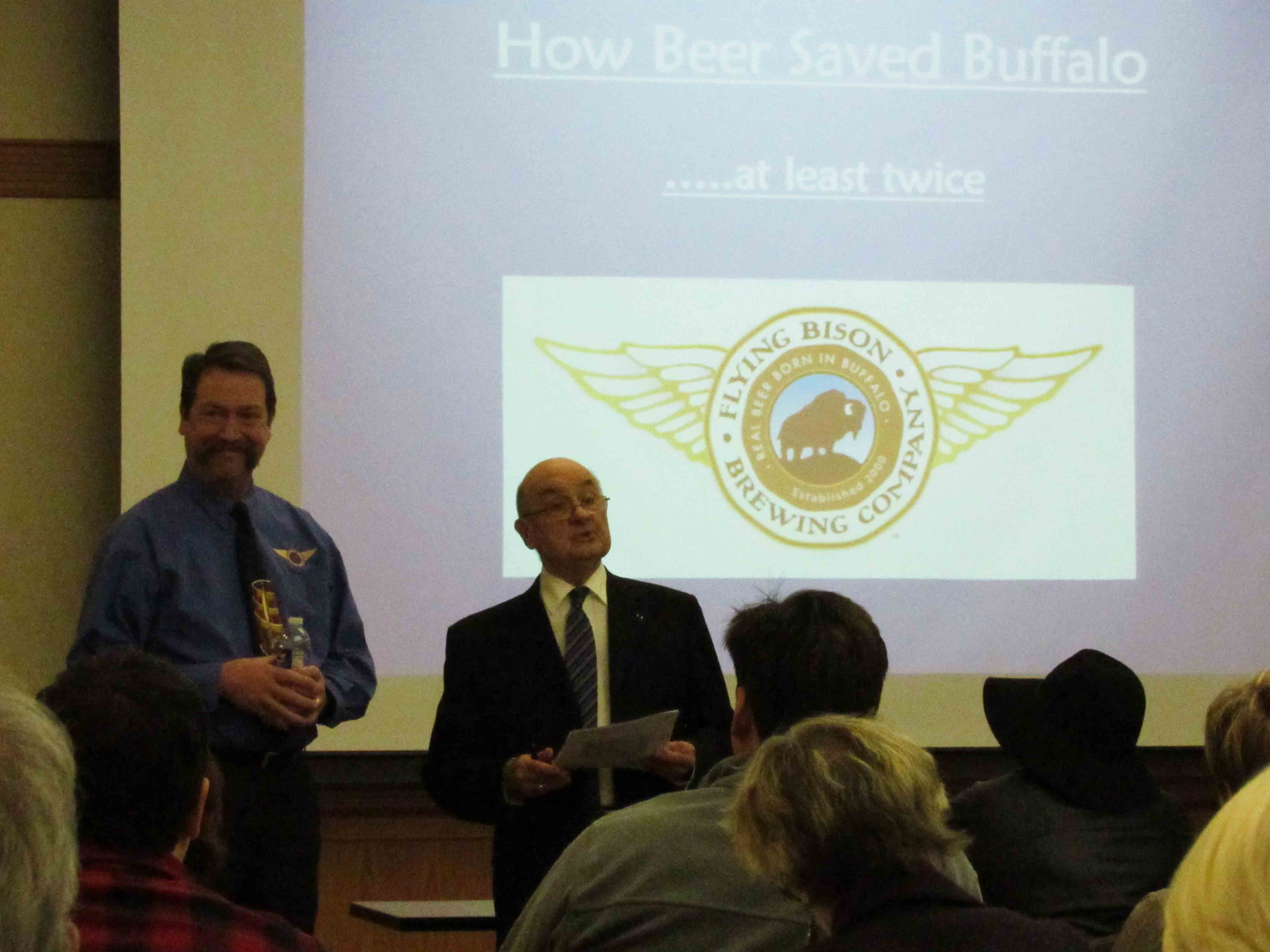Flying Bison Brewery Owner Tim Herzog (pictured left) presented his lecture about the history of Buffalo brewing on Tuesday, Jan. 26 in the E.H. Butler Library.