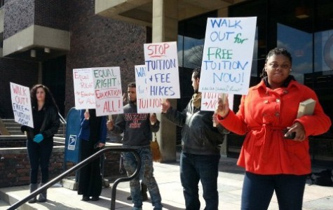 The Buffalo State Students for Revolution (pictured above) participate in the SUNY-wide walkout on the steps in front of the Student Union