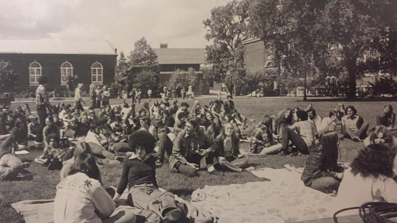 Buffalo State students enjoying an outdoor concert in 1979.