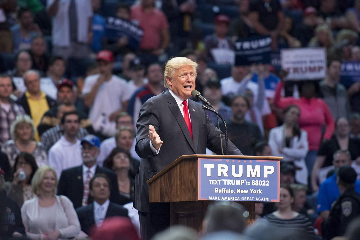 Presidential candidate Donald Trump entered First Niagara Center Monday night to a crowd that Congressman Chris Collins said was