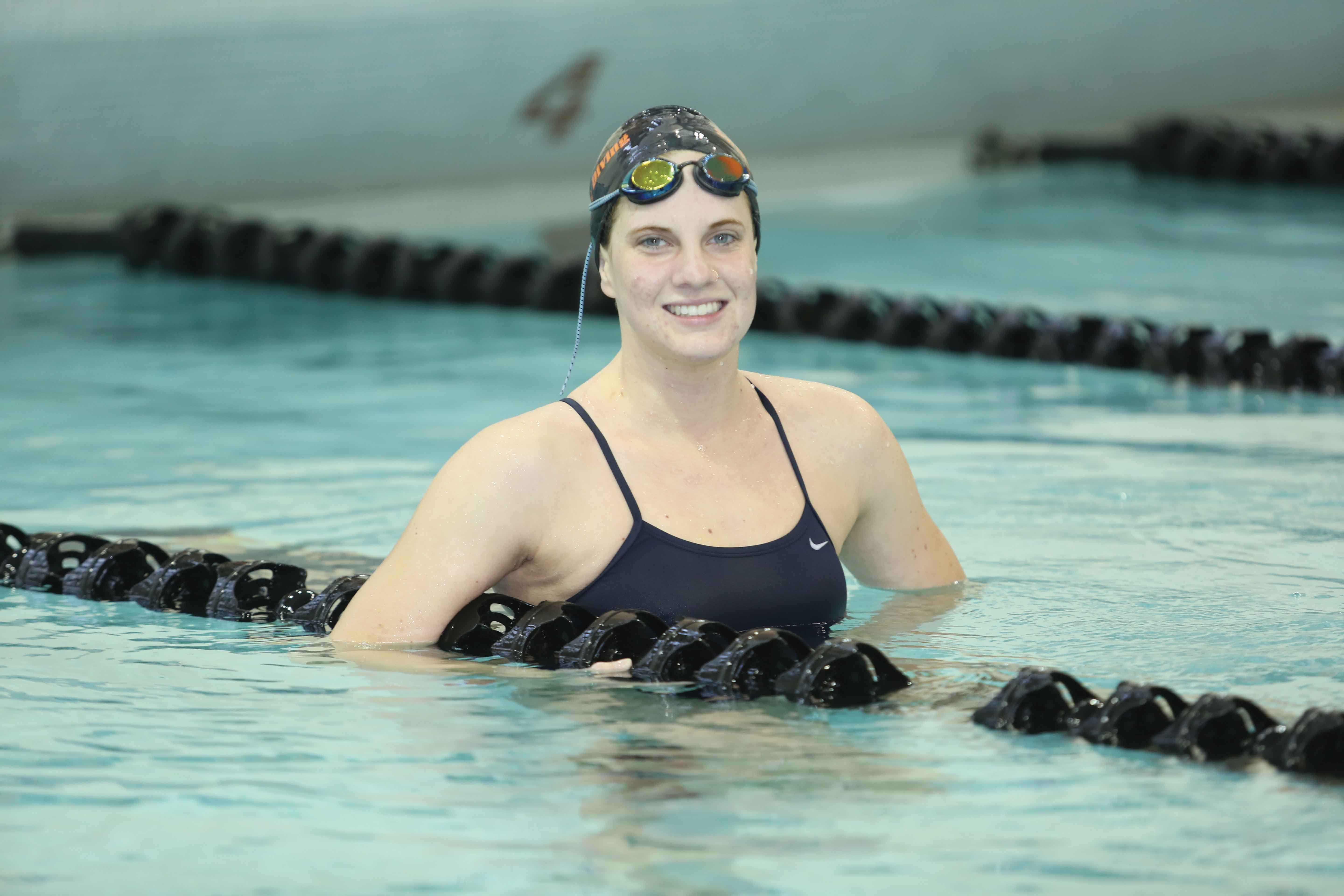 Freshman swimmer Alyssa Greymont was the only American female to win gold at the Deaf World Championship in 2015. She took first place in the 800 and 400-meter freestyles.