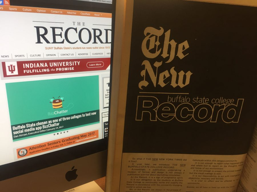 An archived 1977 issue of The Record advertised as The New Buffalo State College Record explaining the publications updated mission statement.