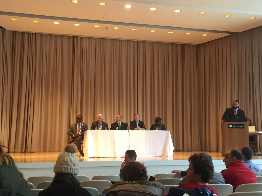 Senator Chris Jabobs, Senator Tim Kennedy Assembly-Member Crystal Peoples-Stokes, Assembly member Mickey Kearns, and Mayor Byron Brown listen to community members speak about ridesharing.