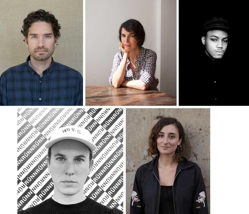 Clockwise from top left: Kasper Akhøj, Tamar Guimarães, Eric Mack, Willa Nasatir, and Jacob Kassay.  Photo courtesy of Albright-Knox Art Gallery.
