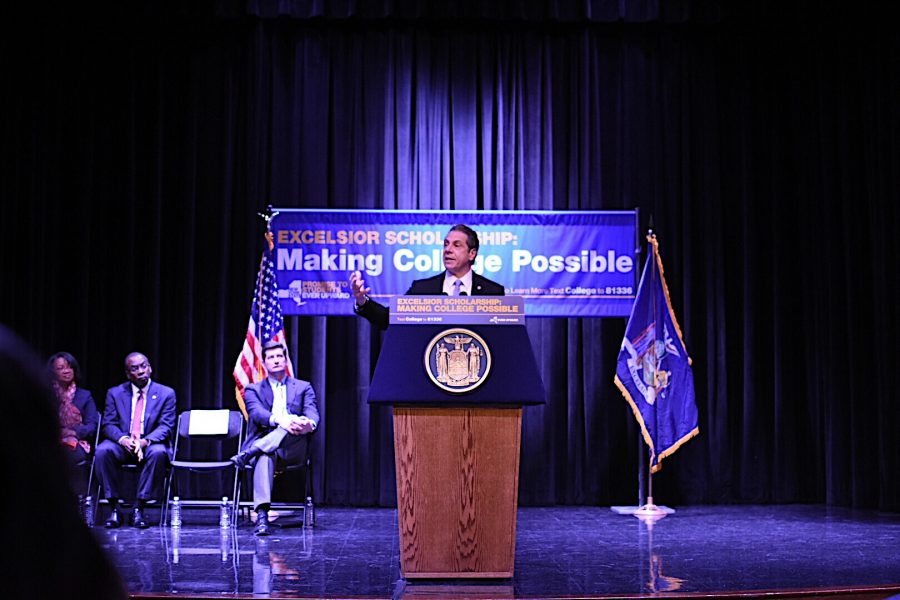 Gov.+Andrew+Cuomo+spoke+at+SUNY+Buffalo+State+on+Tuesday%2C+Feb.+7+about+the+Excelsior+Scholarship+initiative.+