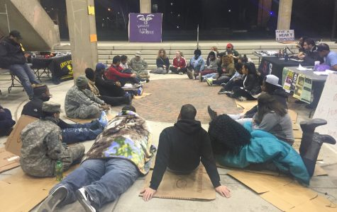 Students and community members band together to advocate for homelessness and hunger awareness at 2016's Sleep Out.