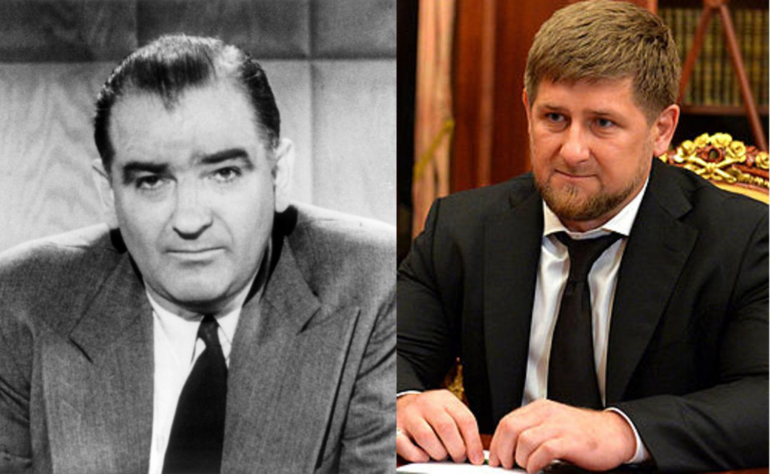 Senator Joseph McCarthy (left) and Ramzan Kadyrov, Head of the Chechen Republic (right).