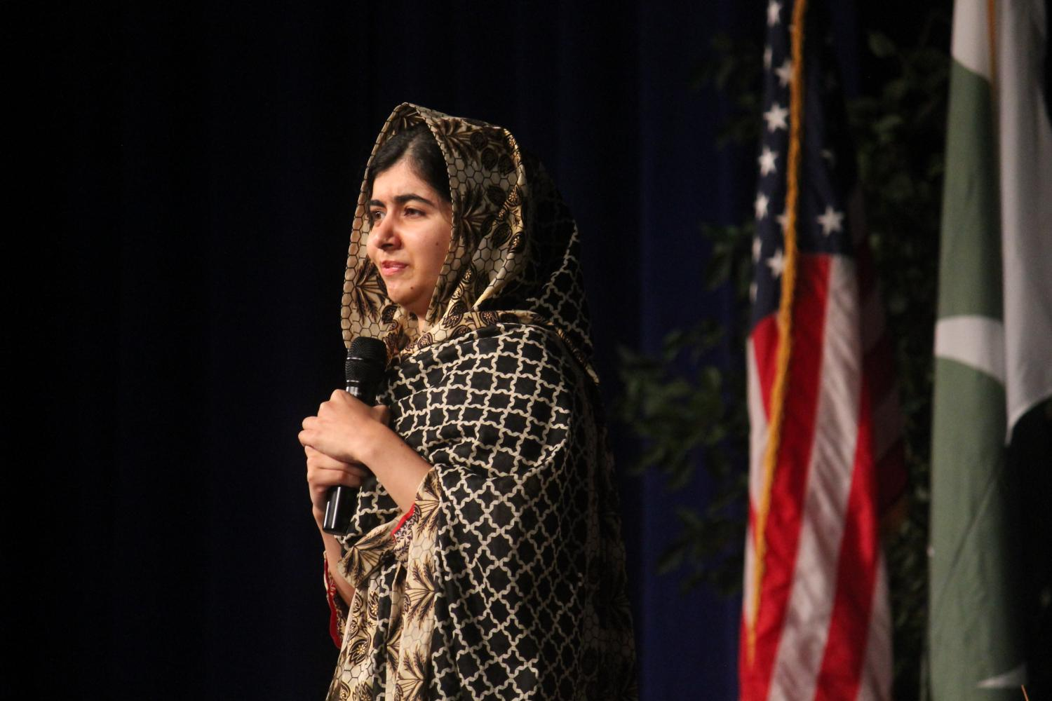 Malala Yousafzai speaks to crowd of almost 6,000 in the Univerity of Buffalo Alumni Arena / (Francesca Bond / The Record)