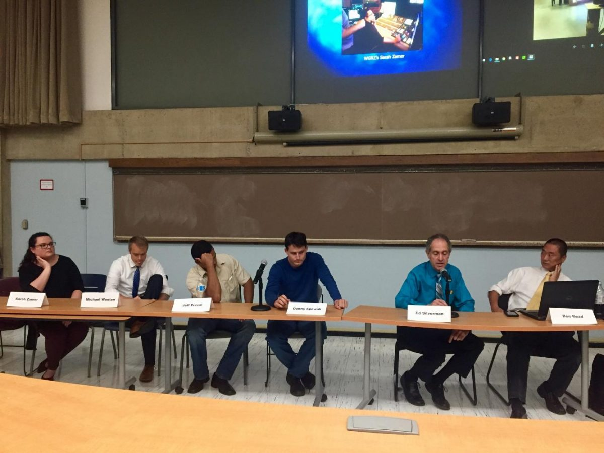 Employees of WGRZ spoke on a panel at SUNY Buffalo State about visiting disaster-laden cities Houston and Tampa and helping their sister stations cover the hurricanes.