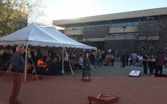 Buffalo State students, parents and alumni enjoy the after-parade party in the plaza.