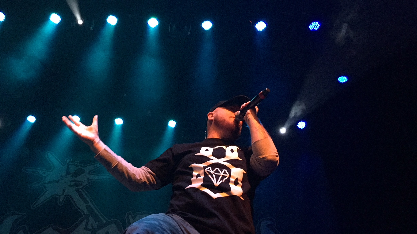 Hatebreed vocalist Jamey Jasta got the Town Ballroom moving with his aggressive vocals.