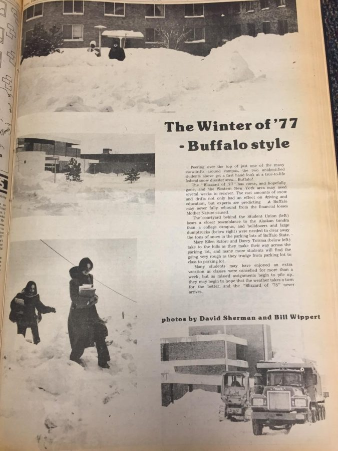 The notorious Blizzard of '77 did not leave Buffalo State out of its line of attack. School was closed for 13 days and buried in snow.