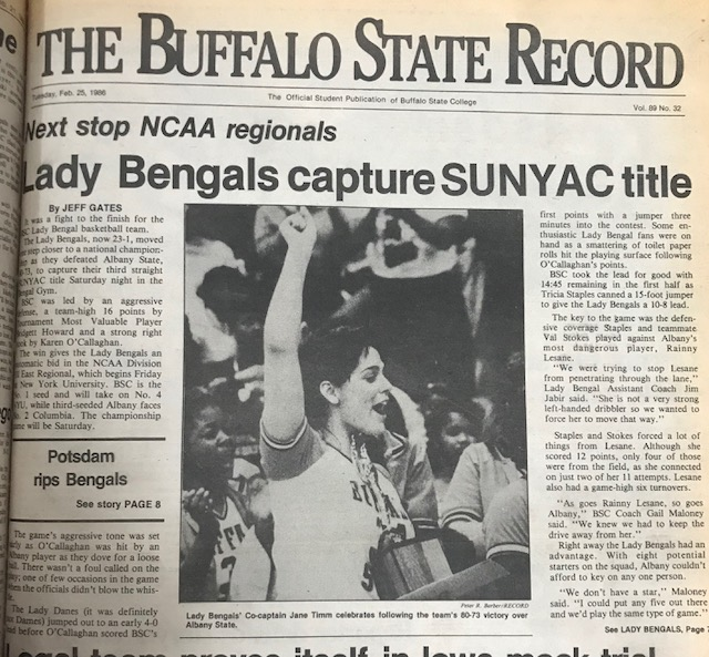 The front page of The Record on February 25th, 1986. Bridgett Howard led the Bengals with 16 points.