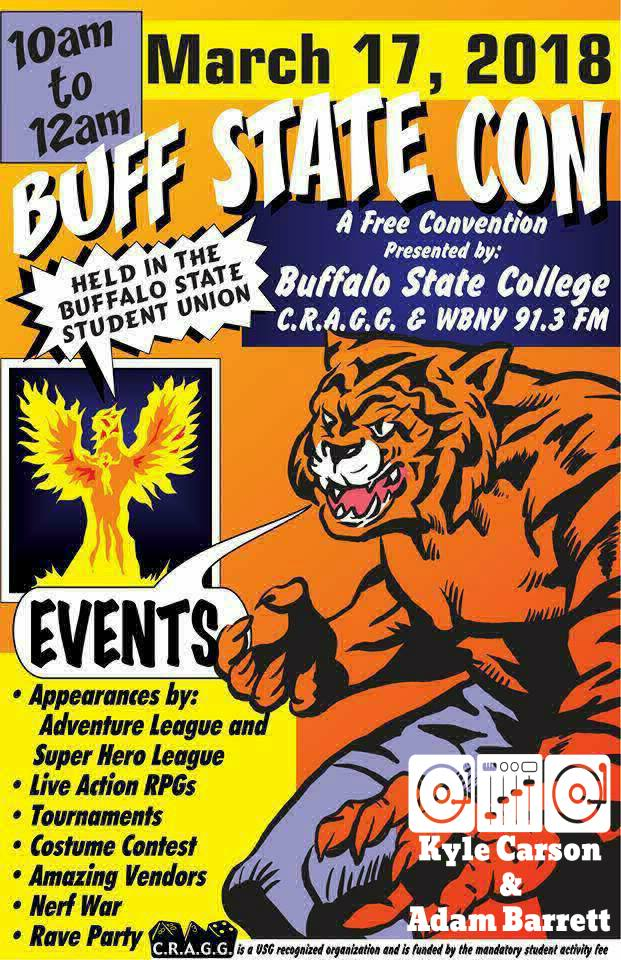 Buff State Con poster with a new design to it