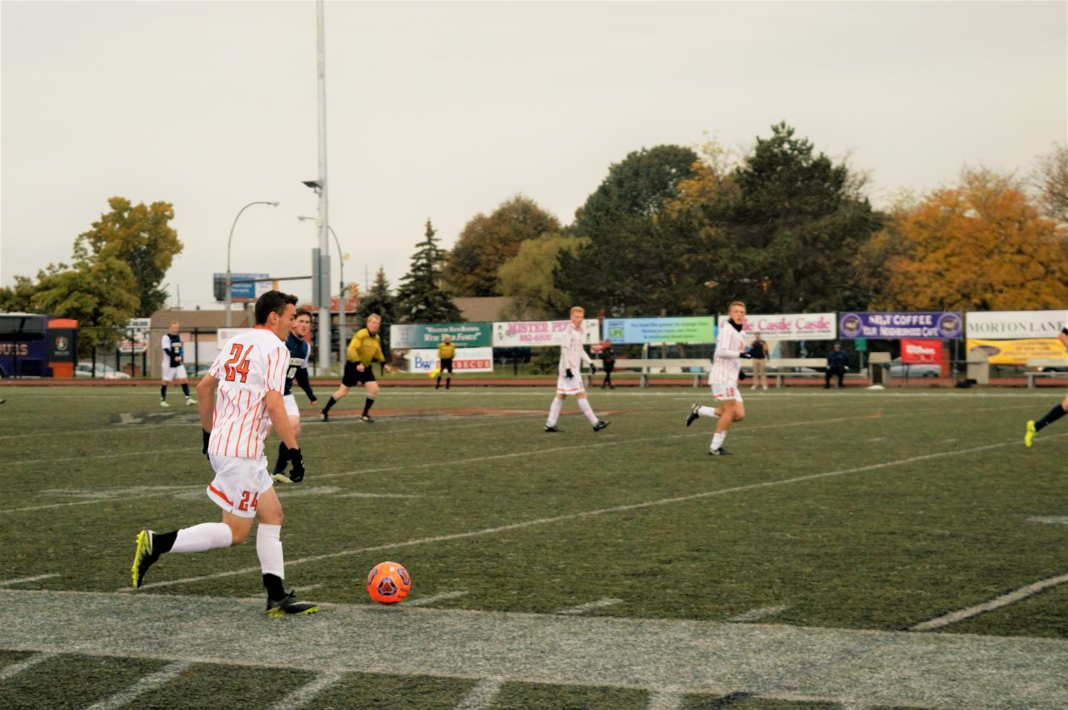 Sophomore Anthony Roncone (24) appeared in all 19 games for the Men's Soccer team last season.