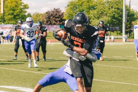 Jordan Evert blocked a punt and recovered the ball for a touchdown in Buffalo State