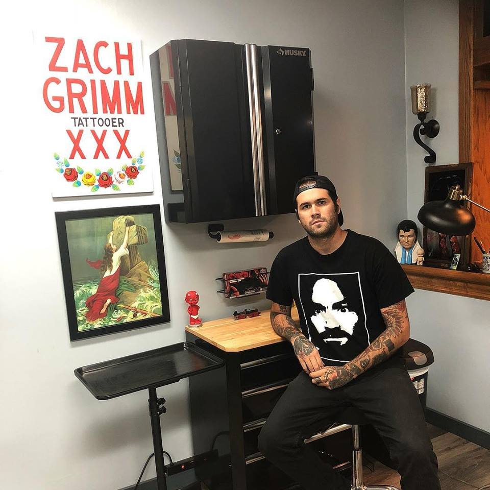 Zach Grimm in his studio in Williamsville