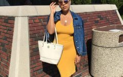 "Model: Jennifer Luna Color: Honey Jennifer is wearing a honey colored body-con dress, with a dark was jean jacket, tan high-heeled sandals, with a white tote-style bag. ""Honestly I don't like the color, but I noticed really warm tones look good on me,"" Luna said."