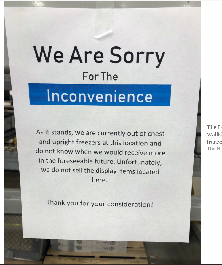 The Lowe's in the Town of Wallkill, N.Y., was sold out of freezers as of Wednesday